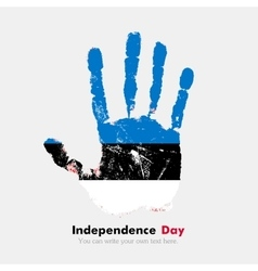Handprint with the flag of estonia in grunge style vector