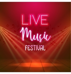 Neon live music concert acoustic party poster vector