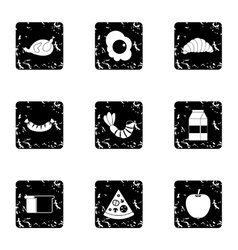 Breakfast icons set grunge style vector