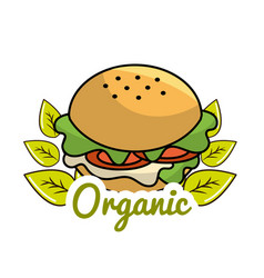 Burger icon with leaves organic concept vector