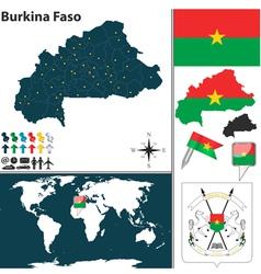Burkina Faso map world vector image vector image