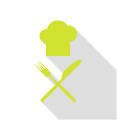 Chef with knife and fork sign pear icon with flat vector