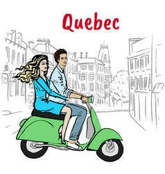 Couple driving scooter on st jean street vector