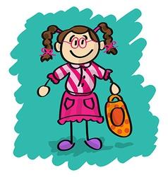 Cute cartoon little girl vector