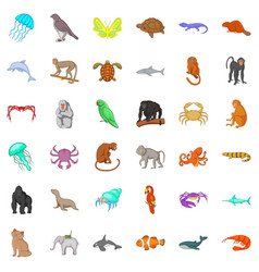 Different animals icons set cartoon style vector