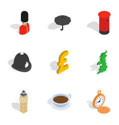 England attractions icons isometric 3d style vector