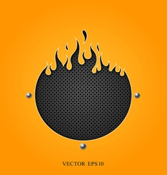 Flame speakers orange background vector