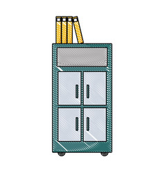 Grated archive cabinet file with books document vector