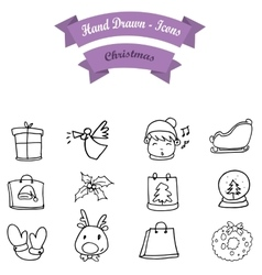 Hand draw christmas icon set vector