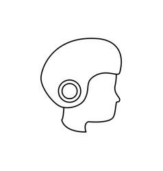 head human with helmet motorcycle vector image