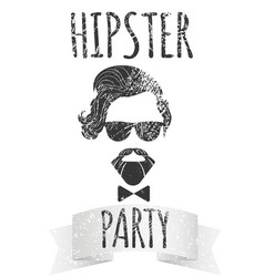 hipster male with eyeglasses with lettering - vector image