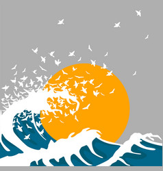 huge waves turn into birds vector image