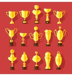 icons set of golden sport award cups vector image vector image