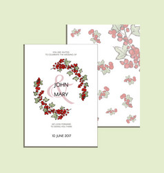 invitation with graphic leaves and redcurrants vector image