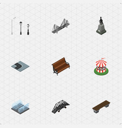 Isometric urban set of turning road fountain vector