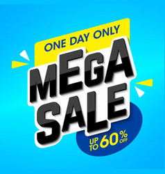 mega sale advertising banner one day special offer vector image vector image