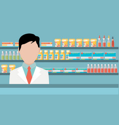 Modern flat of a male pharmacist at the counter vector