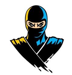 Ninja mascot in paint effect vector