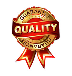 quality guarantee golden label with ribbon vector image