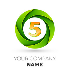 realistic number five logo in the colorful circle vector image vector image