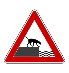 Road ending warning sign for dogs vector