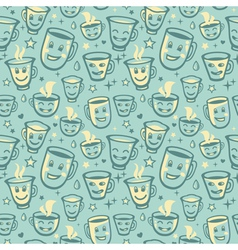 seamless pattern with tea cups vector image