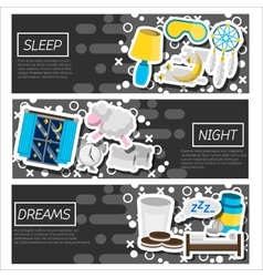 Set of horizontal banners about sleep time vector