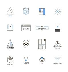 set of minimal geometric hipster logos vector image vector image