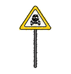 Sign with skull danger alert icon vector