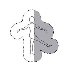 Sticker silhouette woman standing stretching leg vector