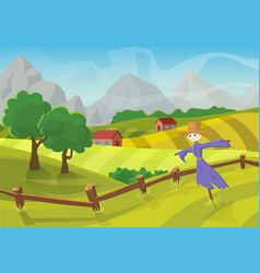 sunny rural landscape with hills trees mountains vector image