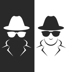 Undercover agent or spy - private detective icon vector image vector image