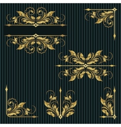 Vintage frame and corner set vector
