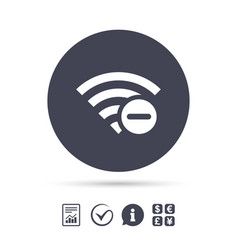 Wifi minus sign wi-fi symbol wireless vector