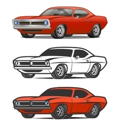 Muscle car cartoon classic poster t-shirt vector