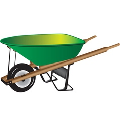 Green wheelbarrow vector