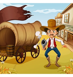 A man holding a gun beside a carriage with a flag vector image