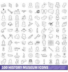 100 history museum icons set outline style vector