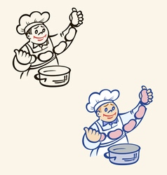 Cook with sausages and pan vector