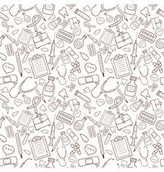 Seamless pattern with medical icons on white vector