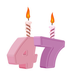 47 years birthday number with festive candle for vector