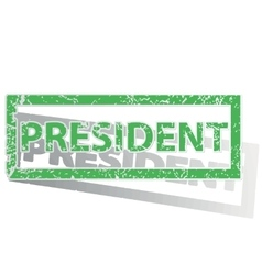 Green outlined president stamp vector