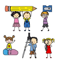 Children with school objects vector