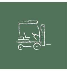 Forklift icon drawn in chalk vector