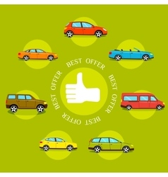 Cars best offers concept flat style design vector
