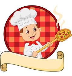 Cartoon pizza chef holding a pizza loading peal vector