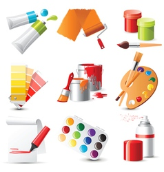 9 highly detailed artists supplies icons vector