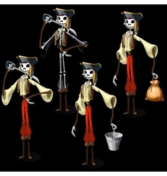 Set of five pirates skeletons with different items vector