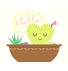 Pot with cactus vector
