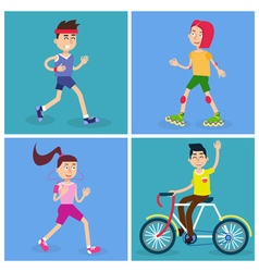 Active people man and woman runners vector